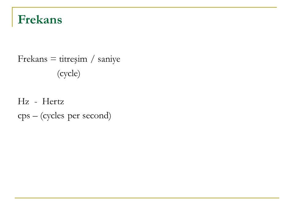 Frekans Frekans = titreşim / saniye (cycle) Hz - Hertz