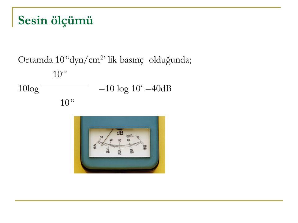 Sesin ölçümü Ortamda 10-12dyn/cm2' lik basınç olduğunda; 10-12