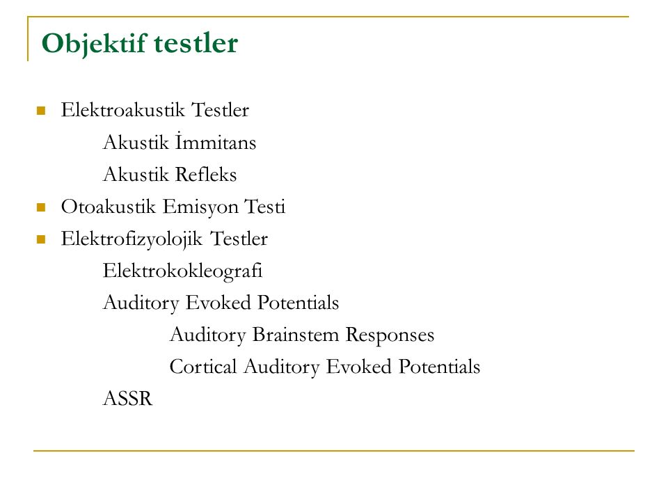 Objektif testler Elektroakustik Testler Akustik İmmitans