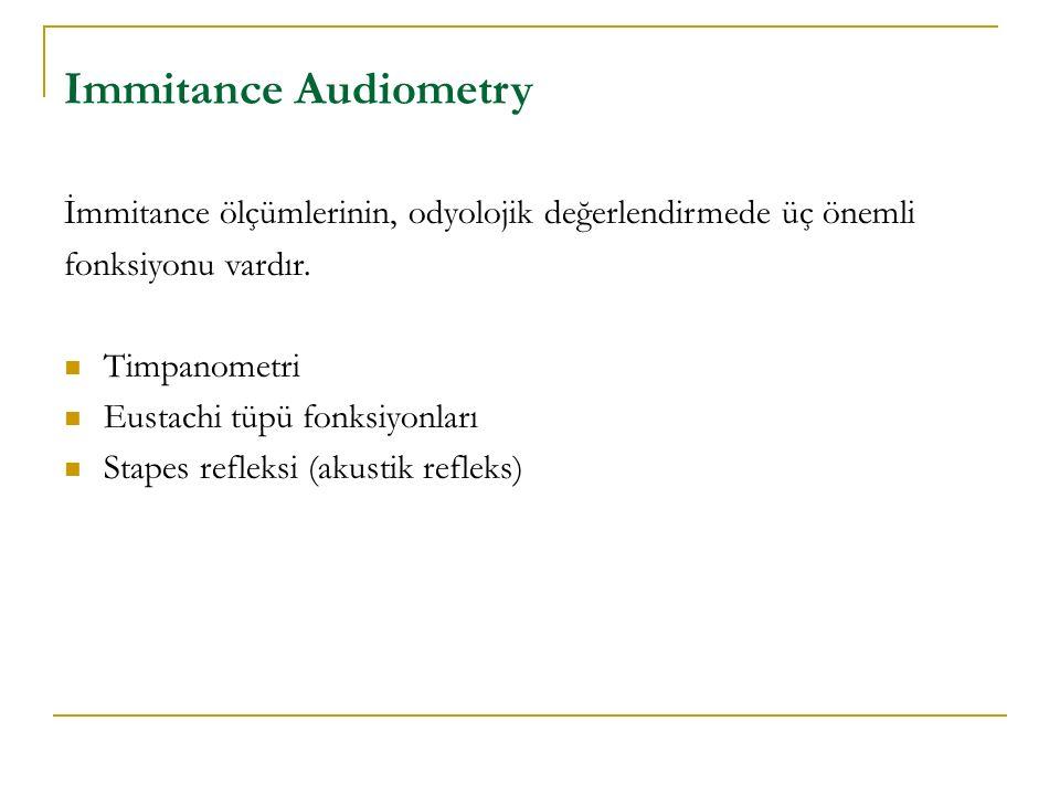 Immitance Audiometry İmmitance ölçümlerinin, odyolojik değerlendirmede üç önemli. fonksiyonu vardır.