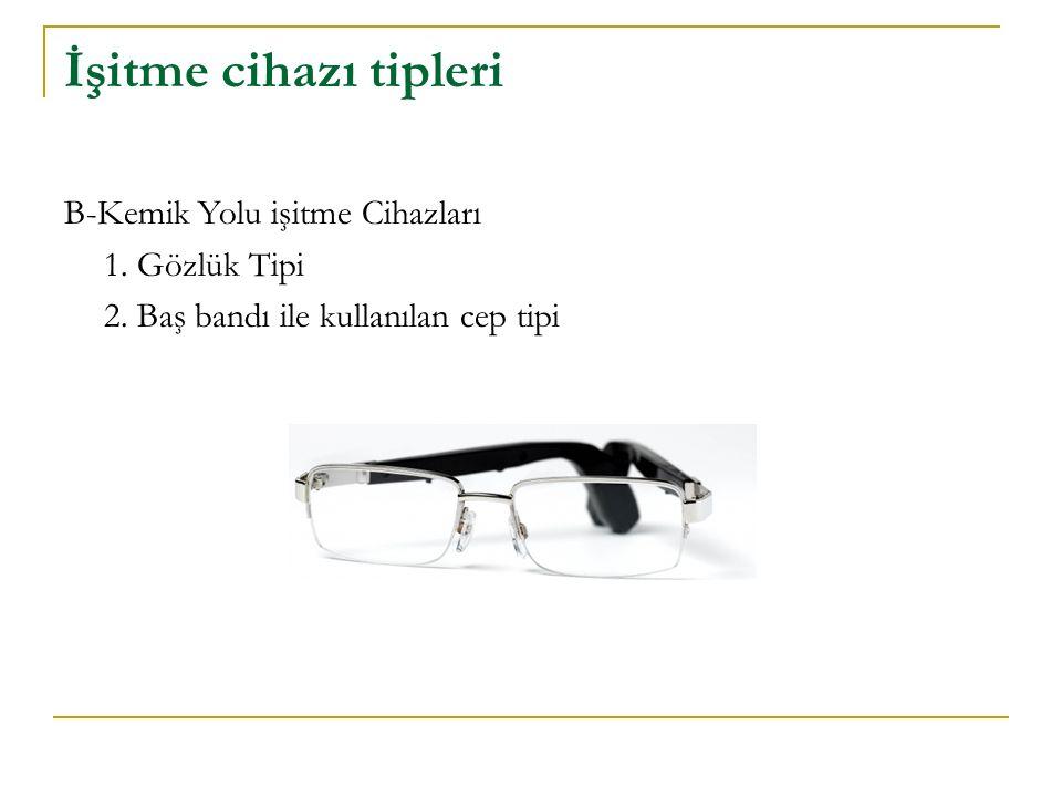 İşitme cihazı tipleri B-Kemik Yolu işitme Cihazları 1. Gözlük Tipi