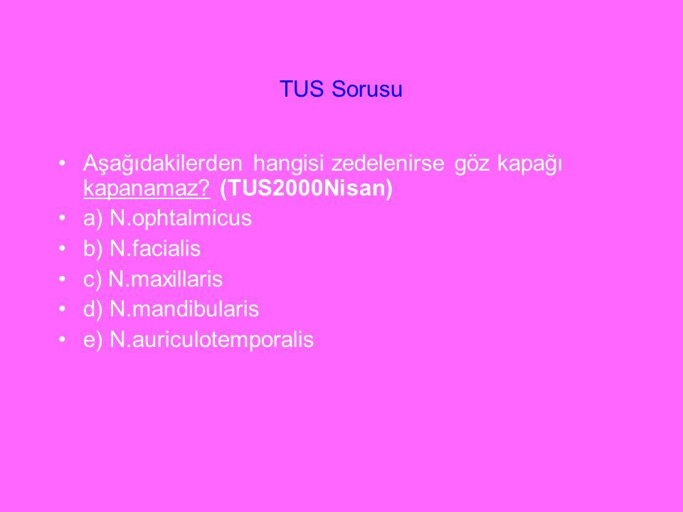 TUS Sorusu Aşağıdakilerden hangisi zedelenirse göz kapağı kapanamaz (TUS2000Nisan) a) N.ophtalmicus.