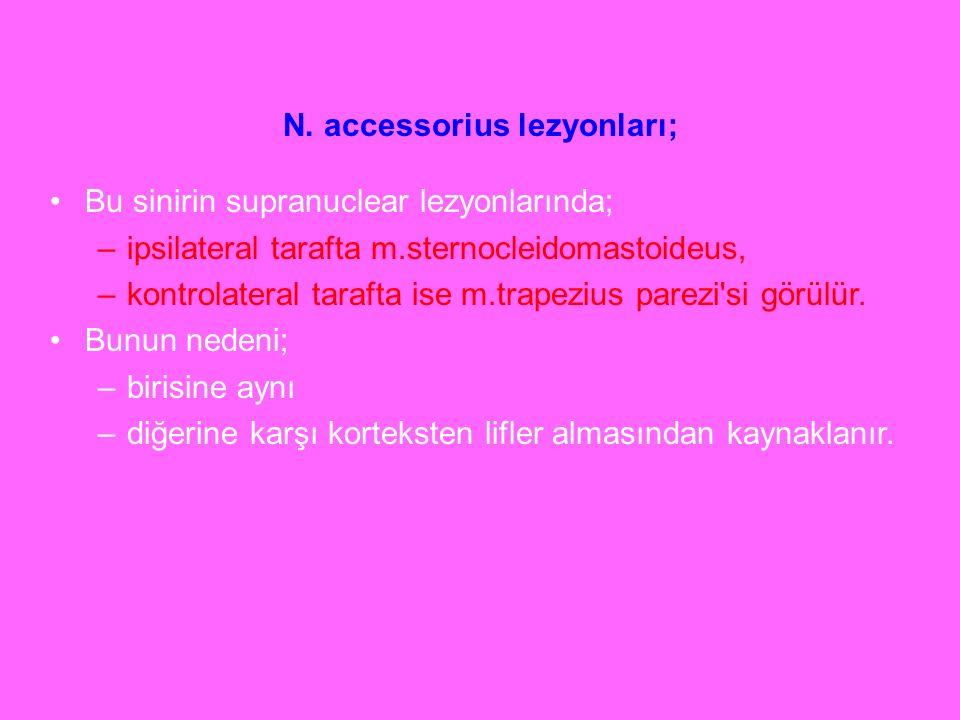 N. accessorius lezyonları;