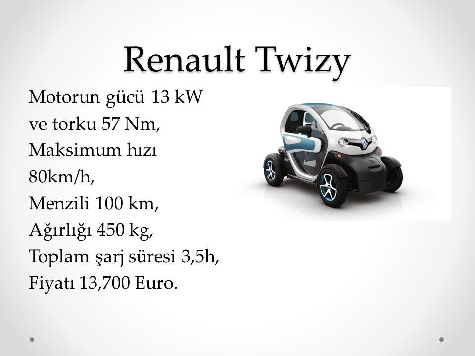 Renault Twizy Motorun gücü 13 kW ve torku 57 Nm, Maksimum hızı 80km/h, Menzili 100 km, Ağırlığı 450 kg, Toplam şarj süresi 3,5h, Fiyatı 13,700 Euro.