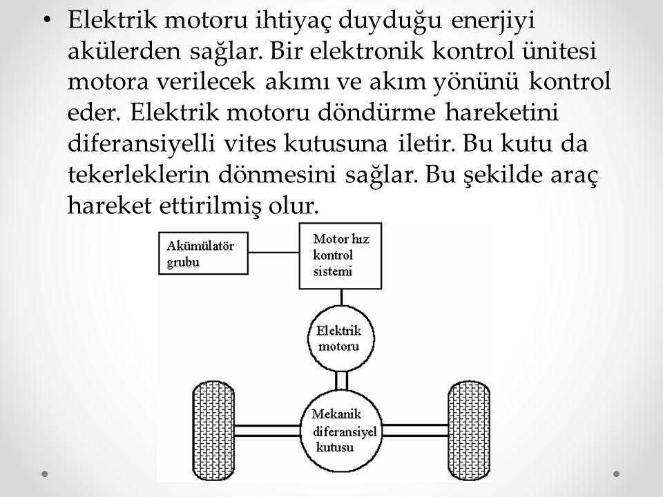 Elektrik motoru ihtiyaç duyduğu enerjiyi akülerden sağlar