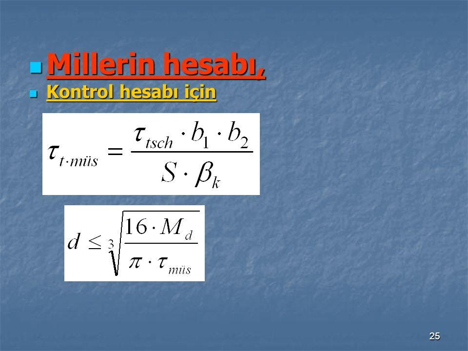Millerin hesabı, Kontrol hesabı için