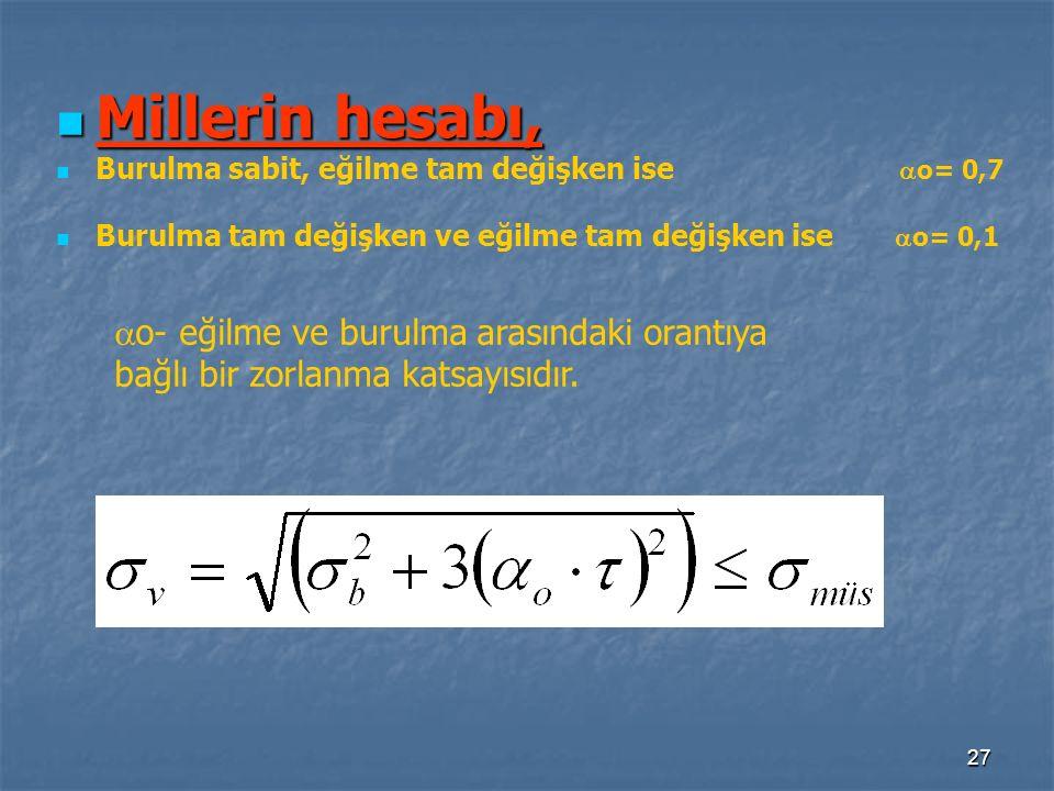 Millerin hesabı, o- eğilme ve burulma arasındaki orantıya
