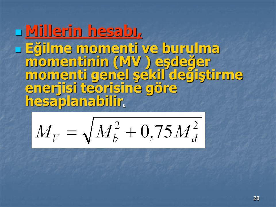 Millerin hesabı, Eğilme momenti ve burulma momentinin (MV ) eşdeğer momenti genel şekil değiştirme enerjisi teorisine göre hesaplanabilir.