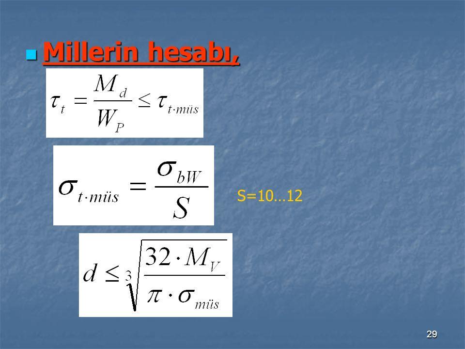 Millerin hesabı, S=10…12