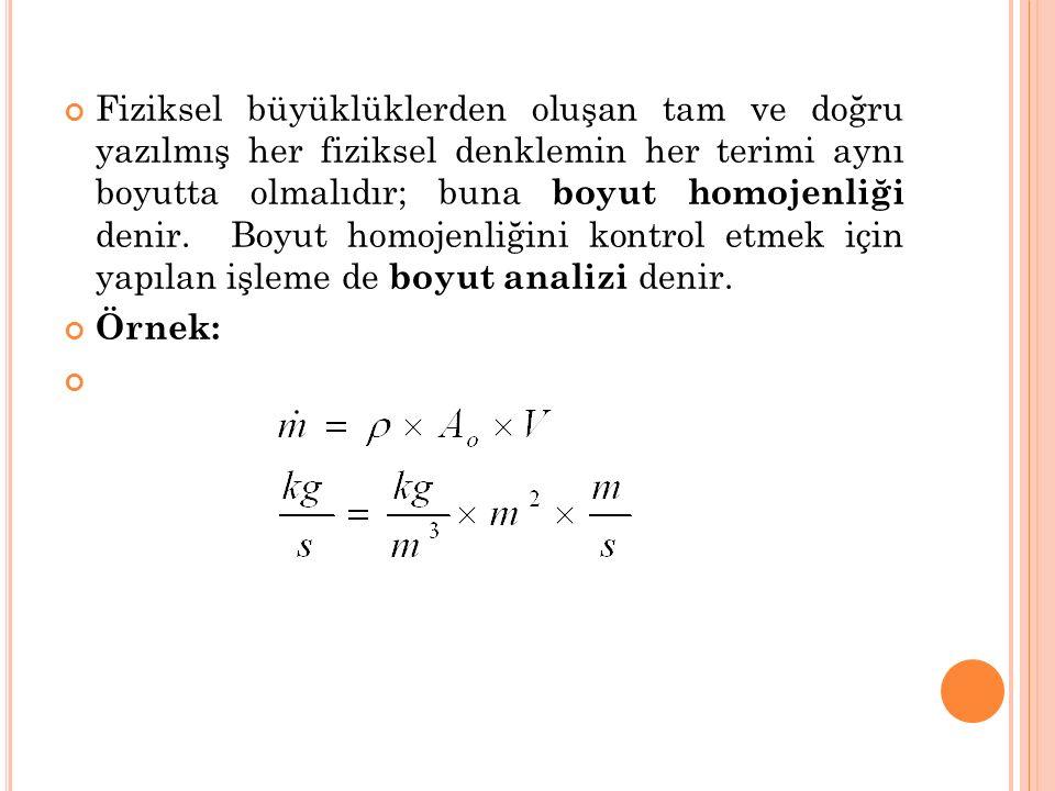 Fiziksel büyüklüklerden oluşan tam ve doğru yazılmış her fiziksel denklemin her terimi aynı boyutta olmalıdır; buna boyut homojenliği denir. Boyut homojenliğini kontrol etmek için yapılan işleme de boyut analizi denir.
