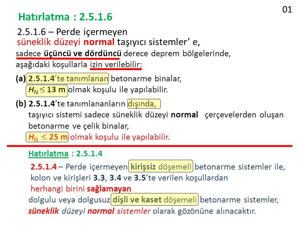 01 Hatırlatma : 2.5.1.6. 2.5.1.6 – Perde içermeyen süneklik düzeyi normal taşıyıcı sistemler' e,