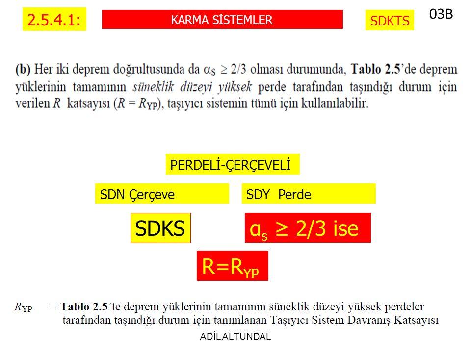 SDKS αs ≥ 2/3 ise R=RYP 03B 2.5.4.1: SDKTS SDY Perde SDN Çerçeve