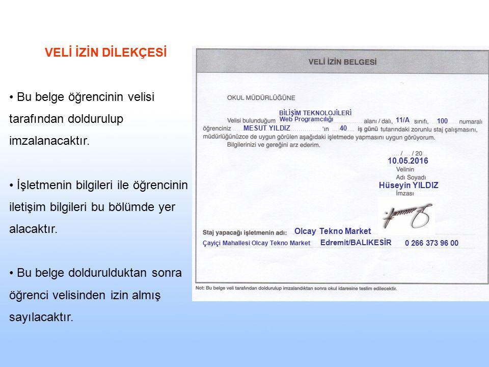 Bu belge öğrencinin velisi tarafından doldurulup imzalanacaktır.