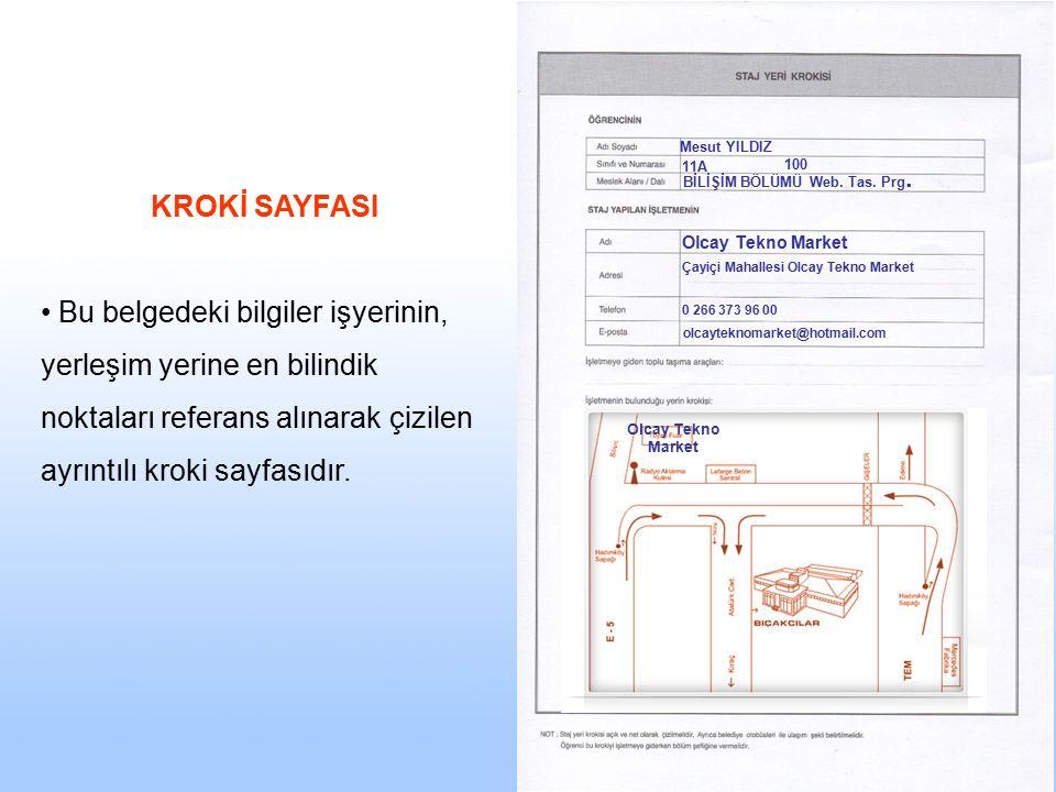 Mesut YILDIZ 11A. 100. BİLİŞİM BÖLÜMÜ Web. Tas. Prg. KROKİ SAYFASI.