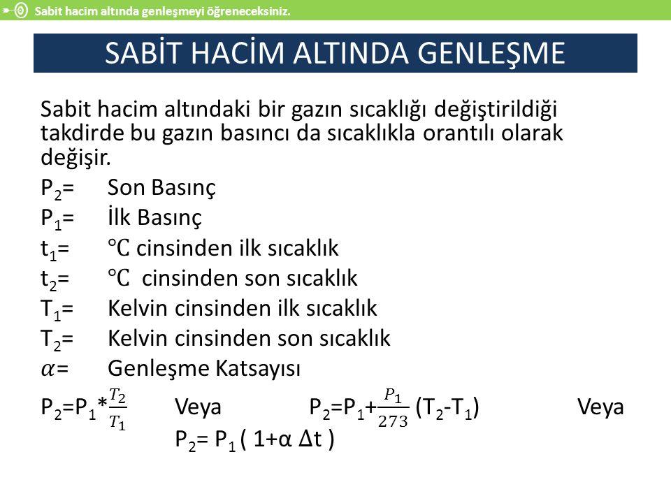 SABİT HACİM ALTINDA GENLEŞME