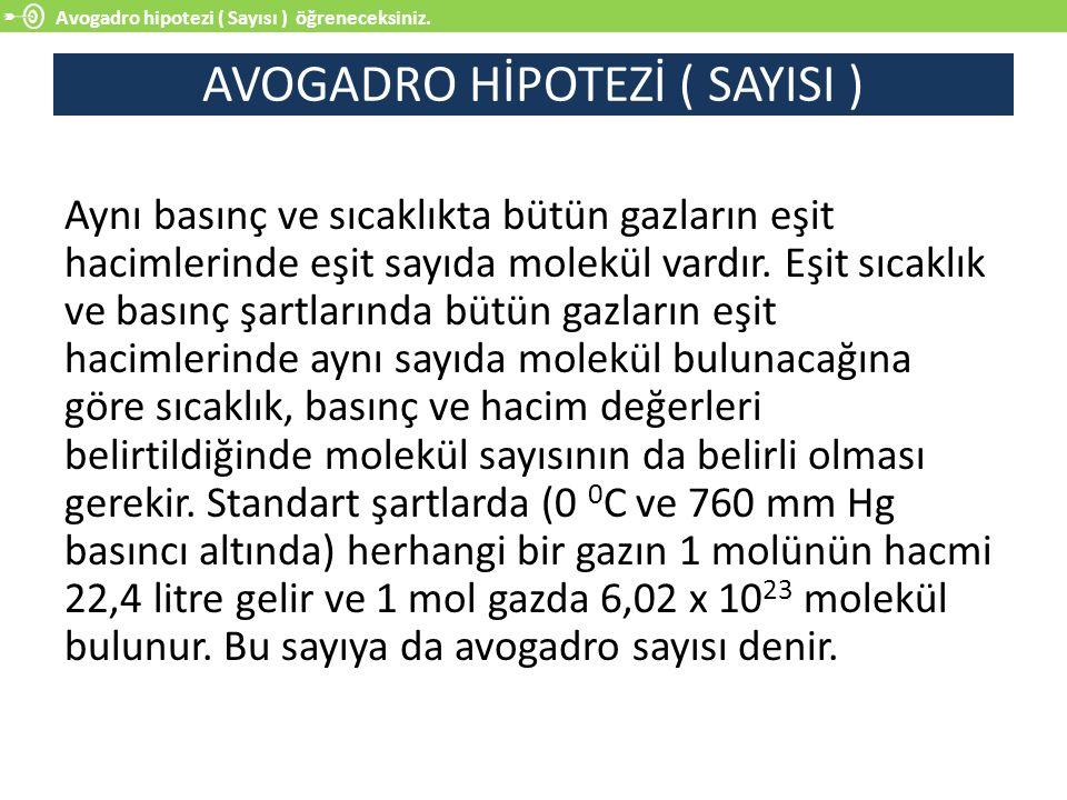 AVOGADRO HİPOTEZİ ( SAYISI )