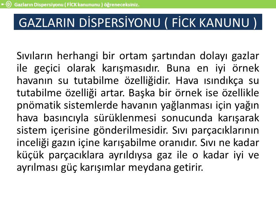 GAZLARIN DİSPERSİYONU ( FİCK KANUNU )