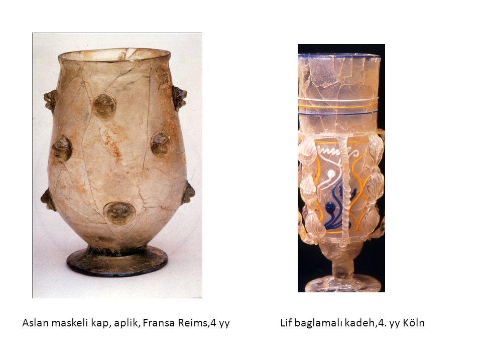 Aslan maskeli kap, aplik, Fransa Reims,4 yy