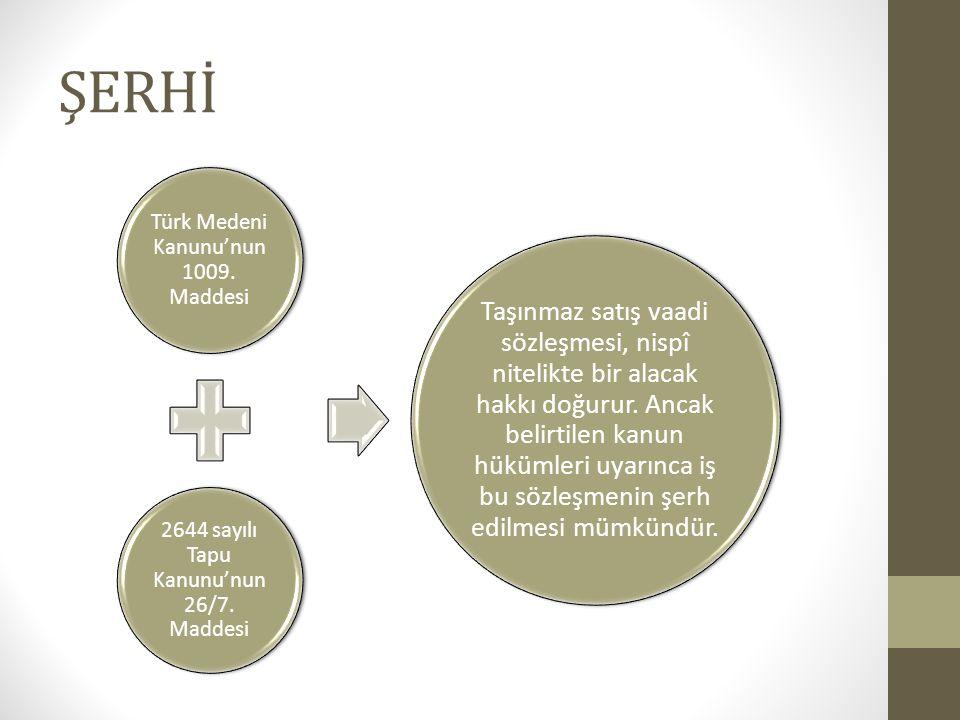 ŞERHİ Türk Medeni Kanunu'nun 1009. Maddesi. 2644 sayılı Tapu Kanunu'nun 26/7. Maddesi.