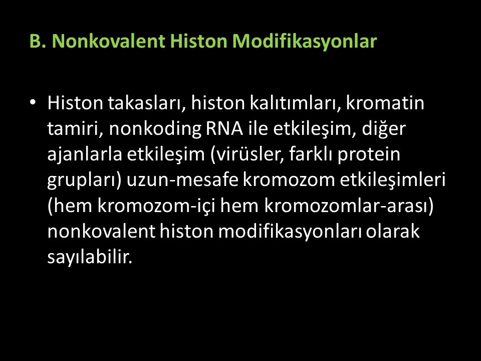 B. Nonkovalent Histon Modifikasyonlar