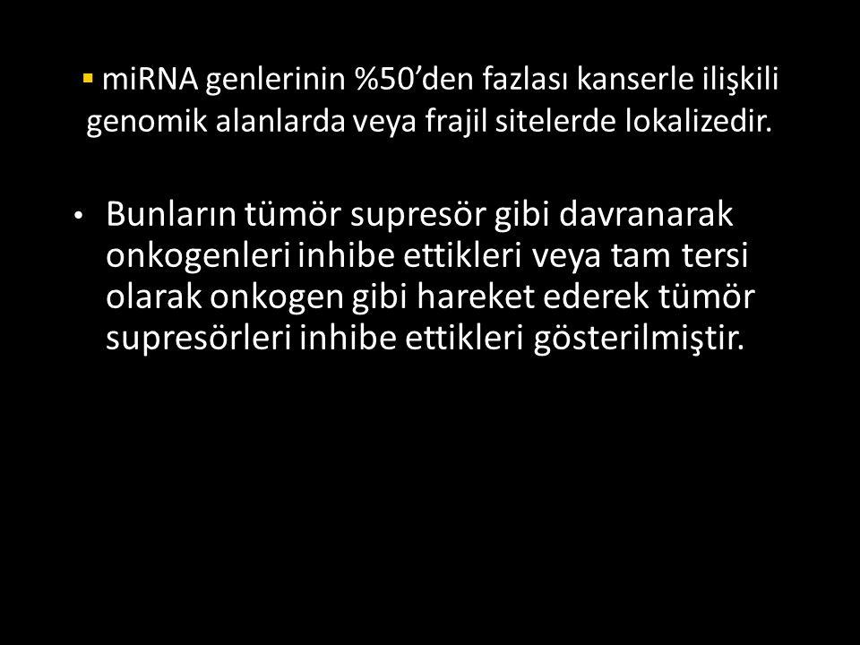 miRNA genlerinin %50'den fazlası kanserle ilişkili genomik alanlarda veya frajil sitelerde lokalizedir.