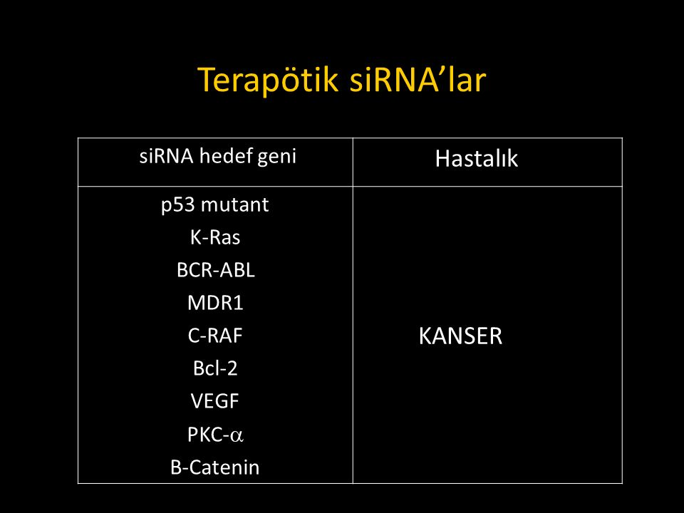 Terapötik siRNA'lar Hastalık KANSER siRNA hedef geni p53 mutant K-Ras