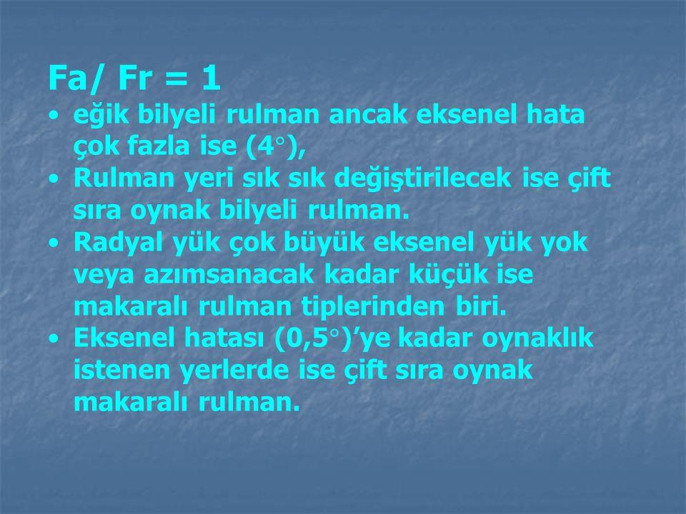 Fa/ Fr = 1 eğik bilyeli rulman ancak eksenel hata çok fazla ise (4),