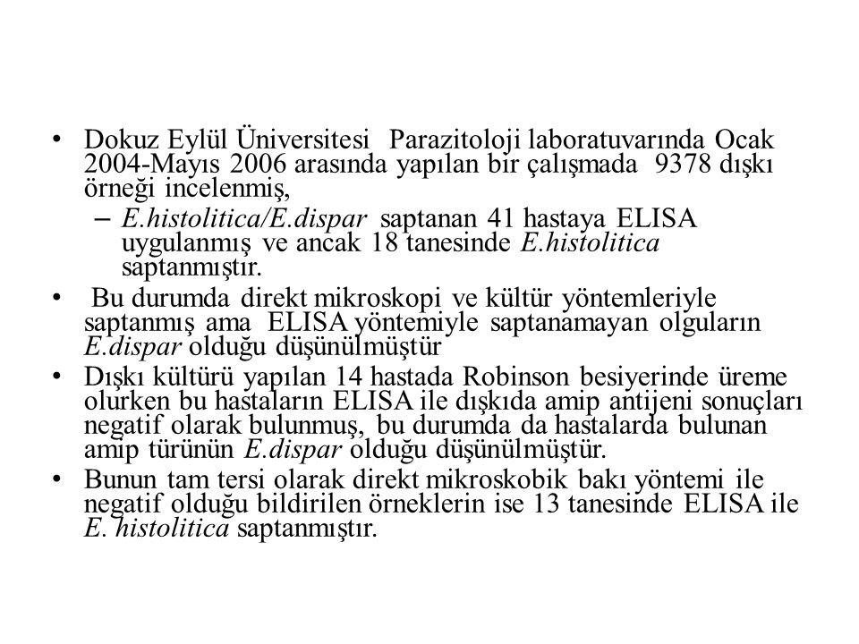 Dokuz Eylül Üniversitesi Parazitoloji laboratuvarında Ocak 2004-Mayıs 2006 arasında yapılan bir çalışmada 9378 dışkı örneği incelenmiş,