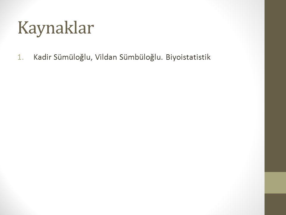 Kaynaklar Kadir Sümüloğlu, Vildan Sümbüloğlu. Biyoistatistik