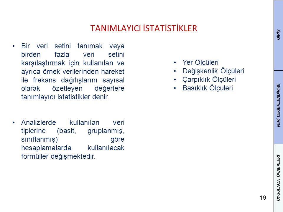 TANIMLAYICI İSTATİSTİKLER