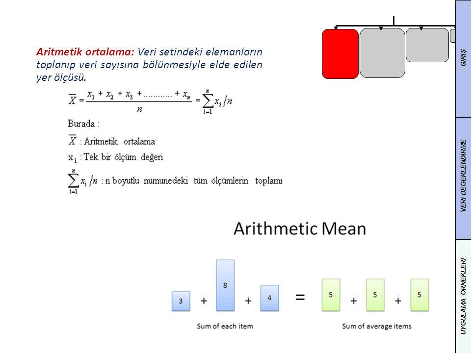 Aritmetik ortalama: Veri setindeki elemanların toplanıp veri sayısına bölünmesiyle elde edilen yer ölçüsü.