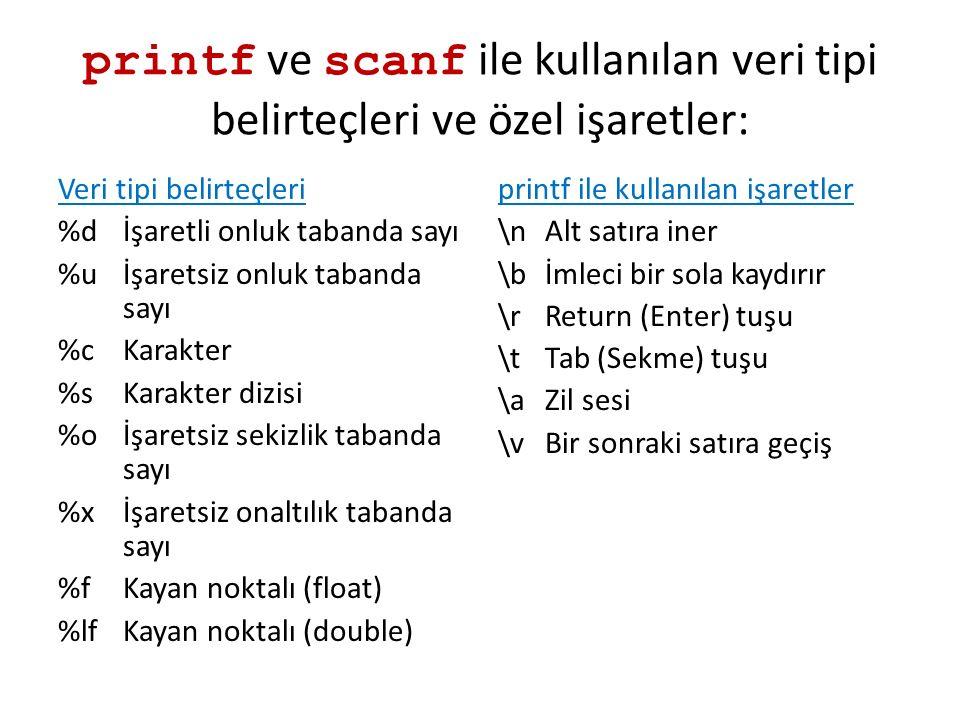 printf ve scanf ile kullanılan veri tipi belirteçleri ve özel işaretler: