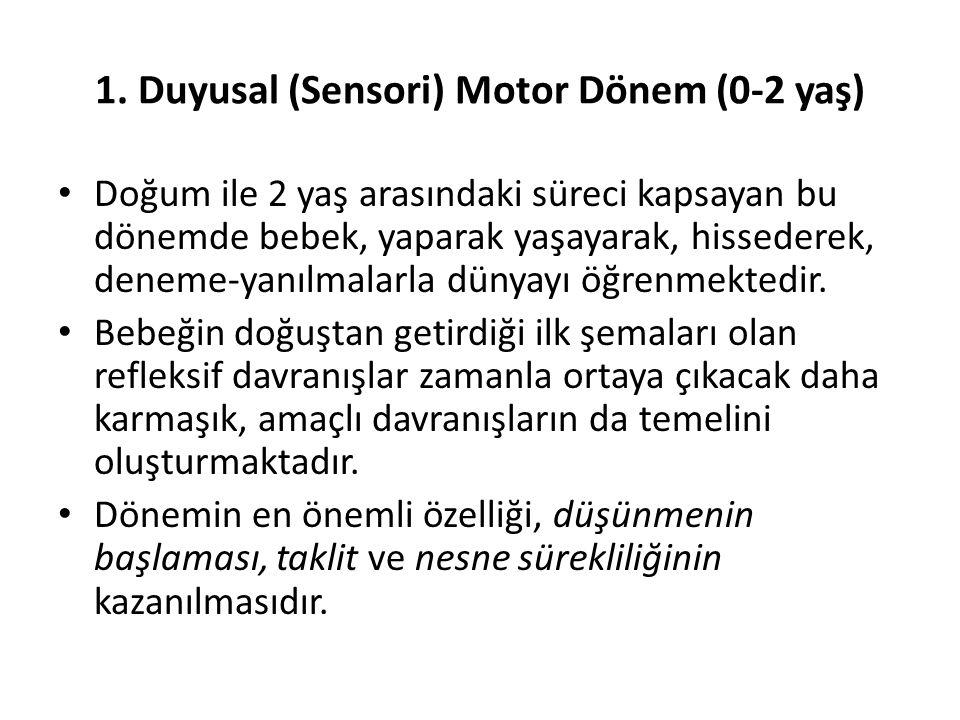 1. Duyusal (Sensori) Motor Dönem (0-2 yaş)