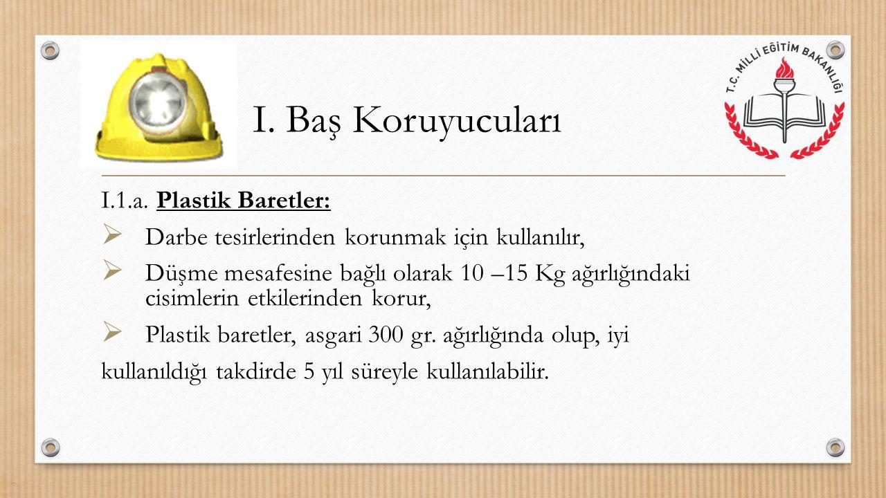 I. Baş Koruyucuları I.1.a. Plastik Baretler:
