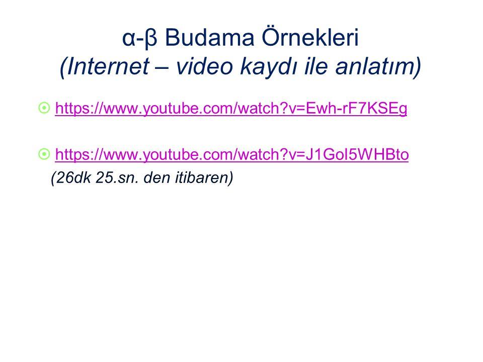 α-β Budama Örnekleri (Internet – video kaydı ile anlatım)