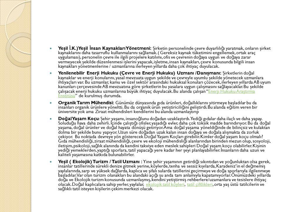 Yeşil İ.K.)Yeşil İnsan Kaynakları Yönetmeni: Şirketin personelinde çevre duyarlılığı yaratmak, onların şirket kaynaklarını daha tasarruflu kullanmalarını sağlamak. ( Gereksiz kaynak tüketimini engellemek, ortak araç uygulaması), personelin çevre ile ilgili projelere katılımı, ofis ve çevrenin doğaya uygun ve doğaya zarar vermeyecek şekilde düzenlenmesi işlerini yapacak, işletme, insan kaynakları, çevre konusunda bilgili insan kaynakları yönetmenlerine / uzmanlarına ilerleyen yıllarda daha çok ihtiyaç duyulacak.
