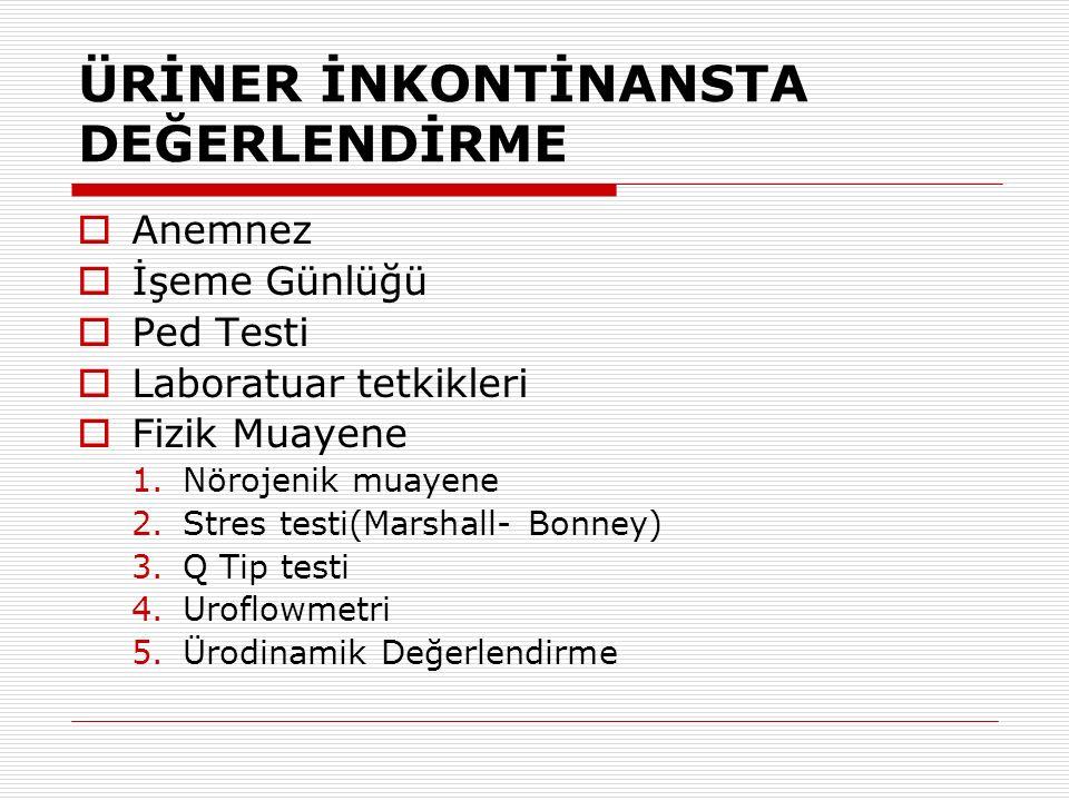 ÜRİNER İNKONTİNANSTA DEĞERLENDİRME