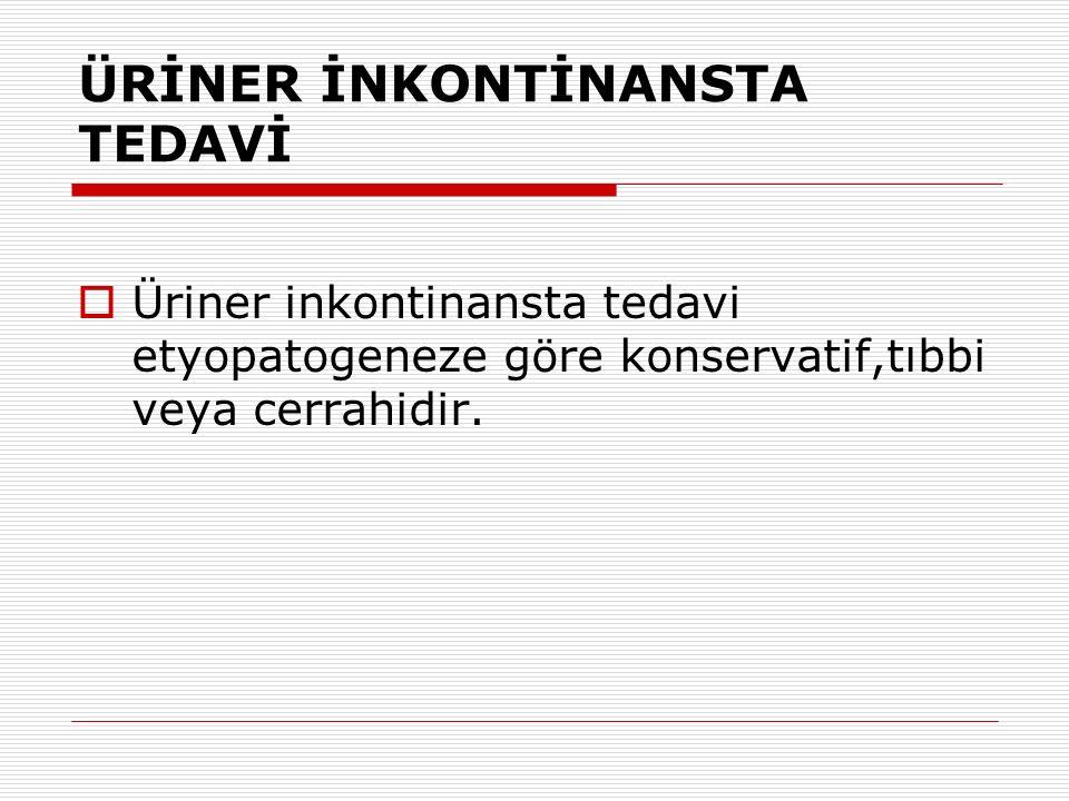 ÜRİNER İNKONTİNANSTA TEDAVİ