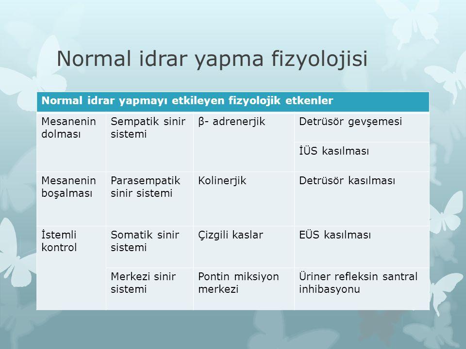 Normal idrar yapma fizyolojisi