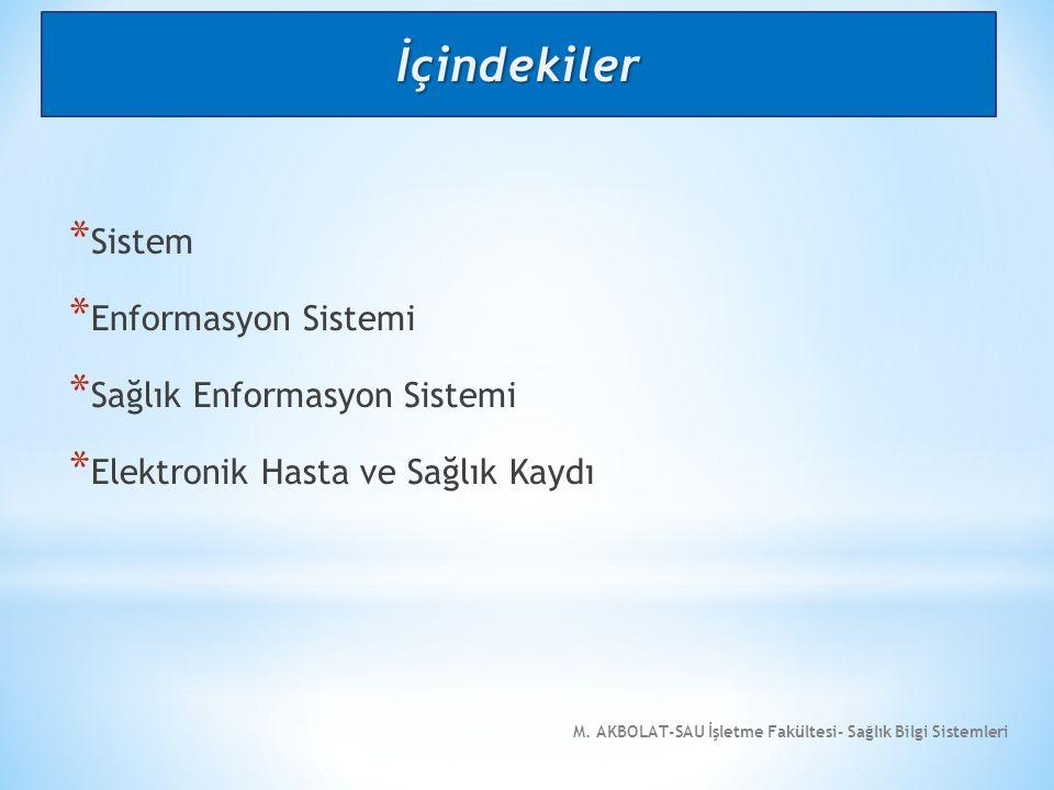 İçindekiler Sistem Enformasyon Sistemi Sağlık Enformasyon Sistemi
