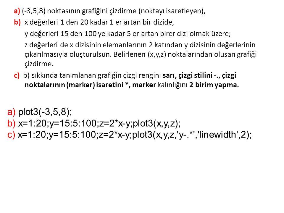 b) x=1:20;y=15:5:100;z=2*x-y;plot3(x,y,z);