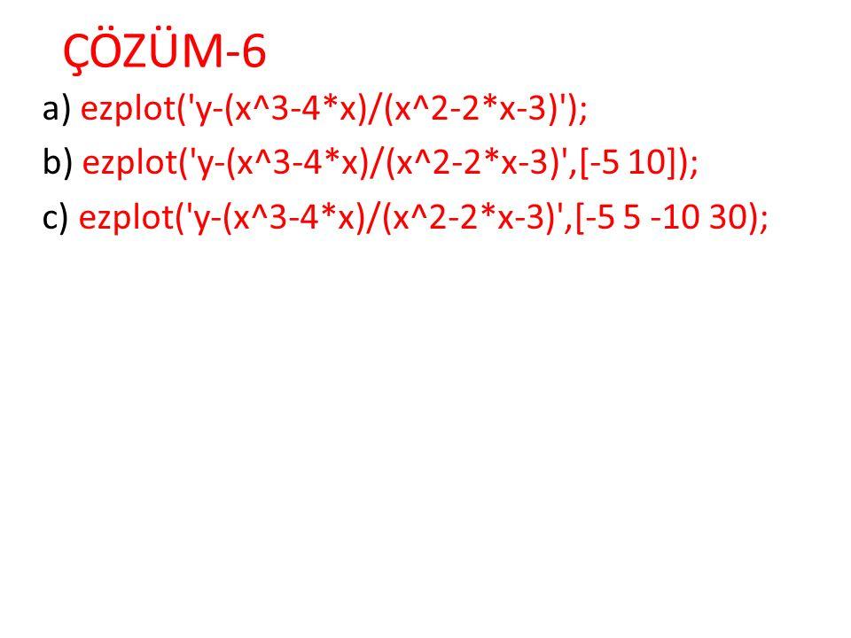 ÇÖZÜM-6 a) ezplot( y-(x^3-4*x)/(x^2-2*x-3) );