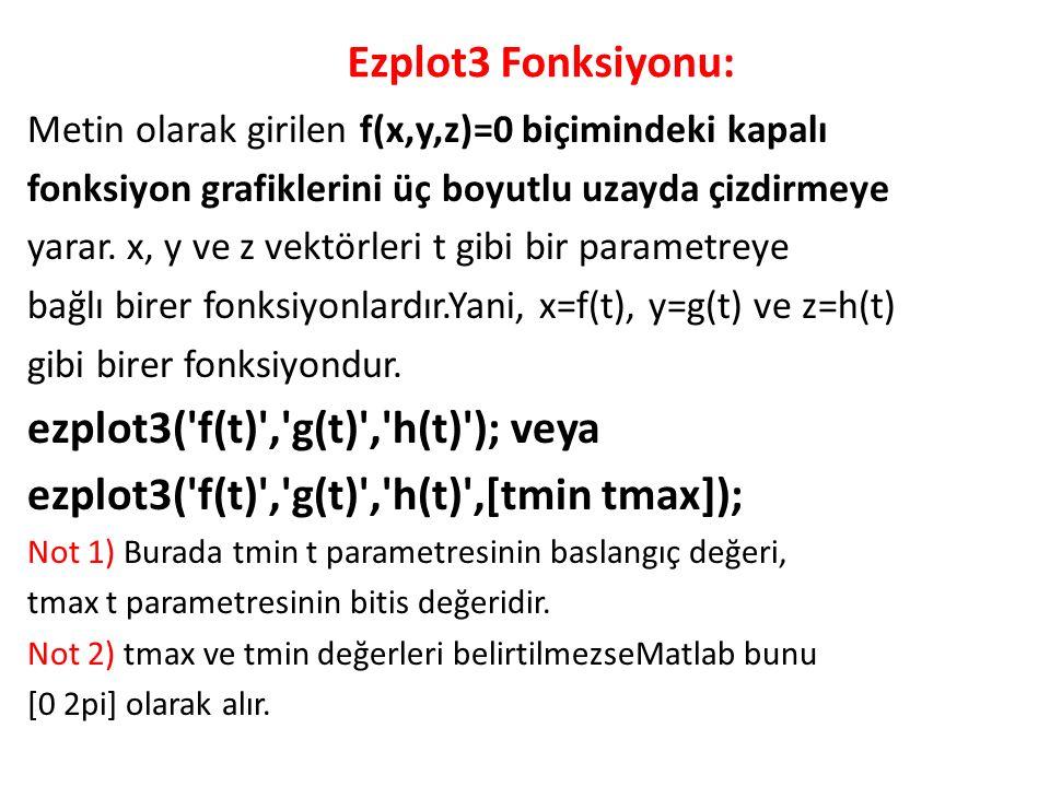ezplot3( f(t) , g(t) , h(t) ); veya