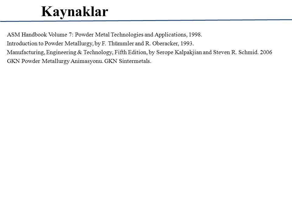 Kaynaklar ASM Handbook Volume 7: Powder Metal Technologies and Applications, 1998.