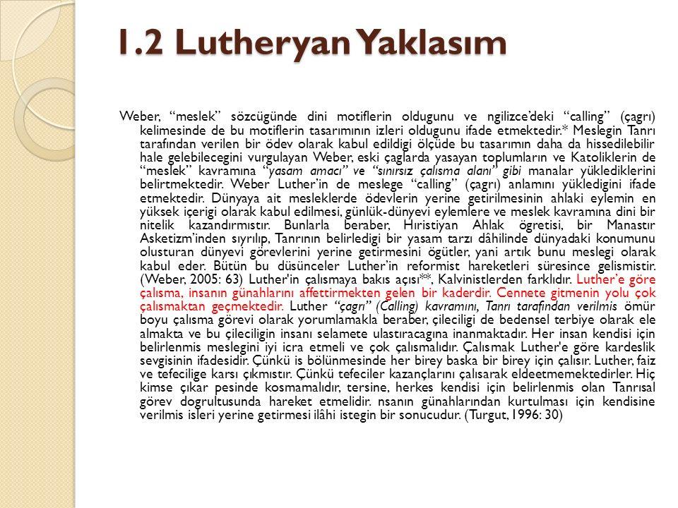 1.2 Lutheryan Yaklasım