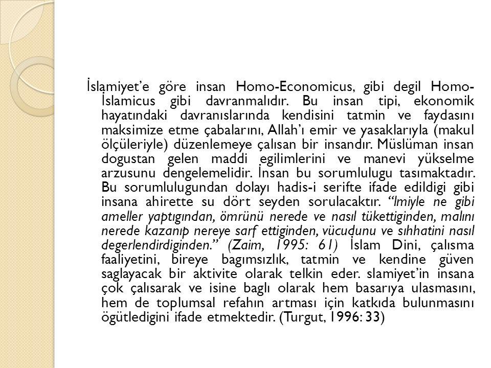 İslamiyet'e göre insan Homo-Economicus, gibi degil Homo- İslamicus gibi davranmalıdır.