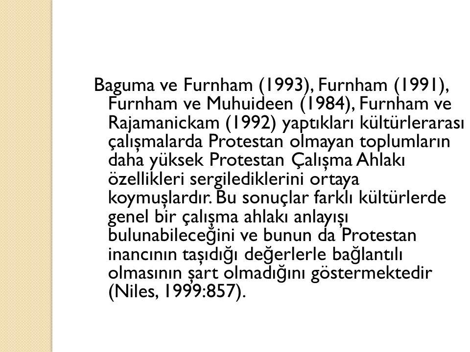 Baguma ve Furnham (1993), Furnham (1991), Furnham ve Muhuideen (1984), Furnham ve Rajamanickam (1992) yaptıkları kültürlerarası çalışmalarda Protestan olmayan toplumların daha yüksek Protestan Çalışma Ahlakı özellikleri sergilediklerini ortaya koymuşlardır.