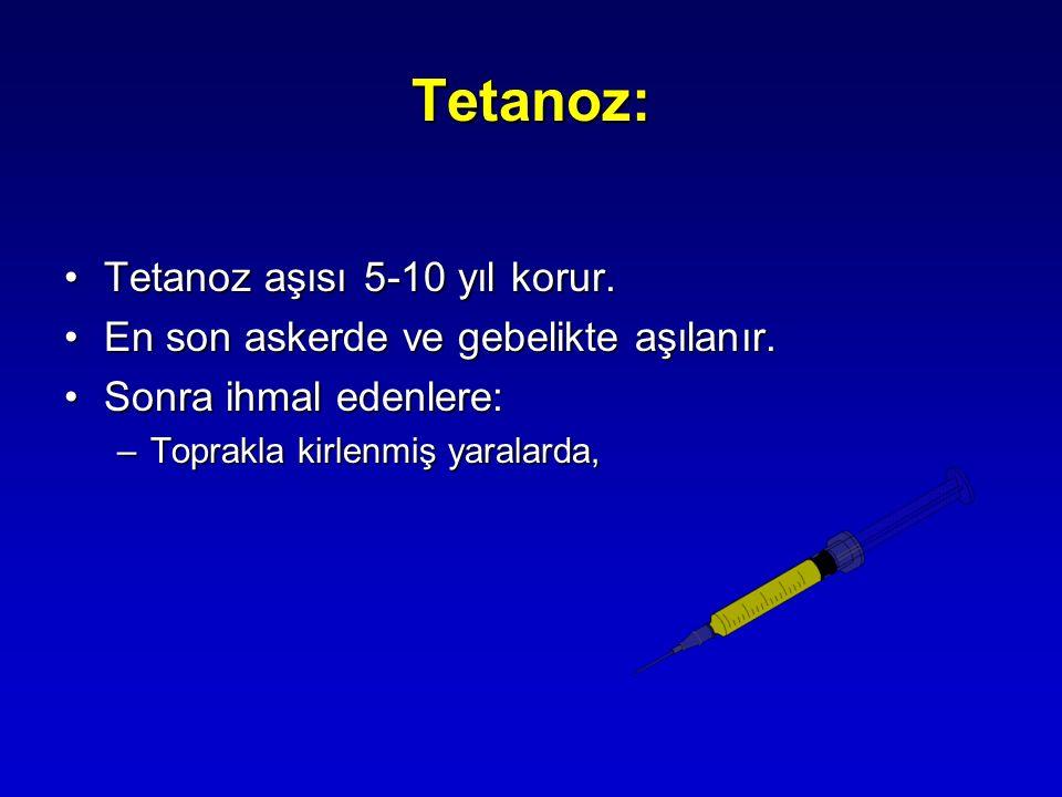 Tetanoz: Tetanoz aşısı 5-10 yıl korur.