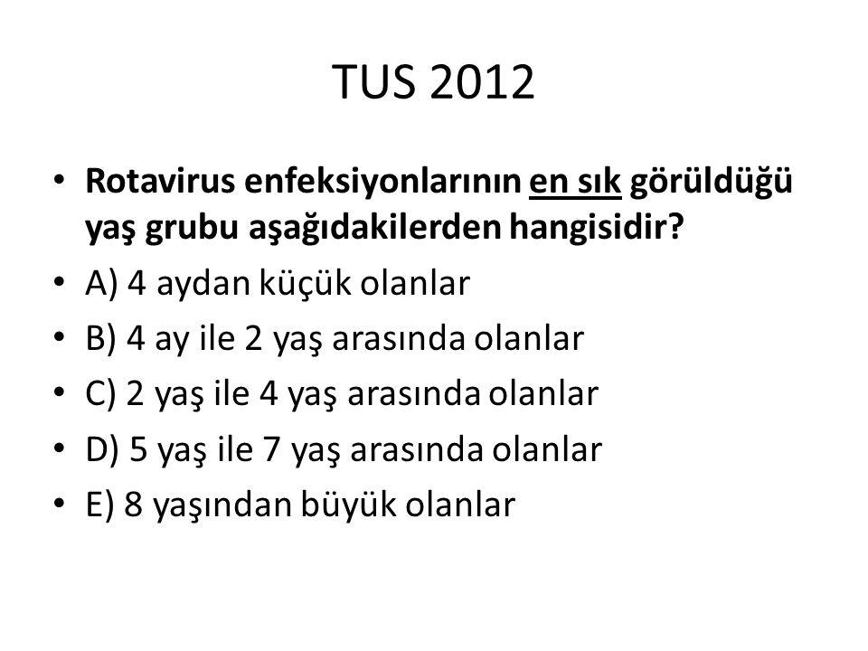 TUS 2012 Rotavirus enfeksiyonlarının en sık görüldüğü yaş grubu aşağıdakilerden hangisidir A) 4 aydan küçük olanlar.