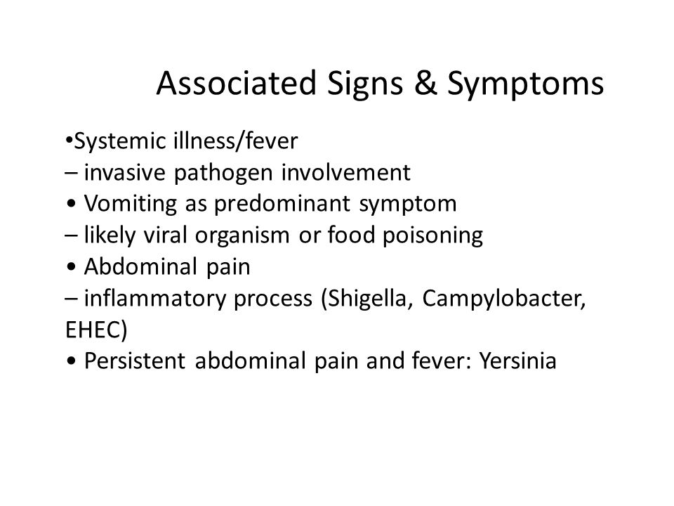 Associated Signs & Symptoms